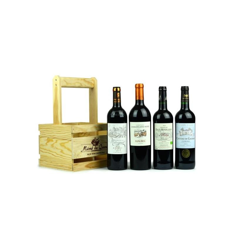 panier dégustation de 4 bouteilles de vin de Cahors