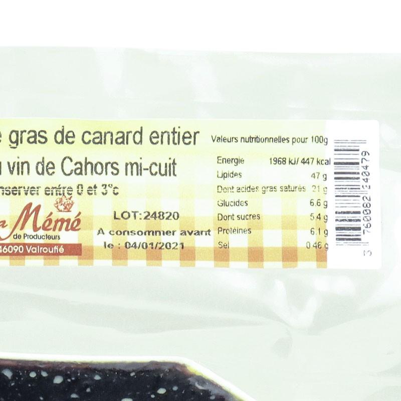 valeurs nutritionnelles foie gras de canard mi cuit au vin de cahors en terrine