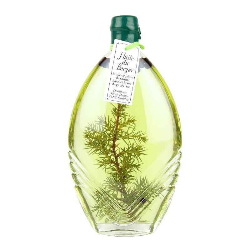 Huile du Berger, huile de pépin de raisin aromatisée au bais et brins de genévrier.