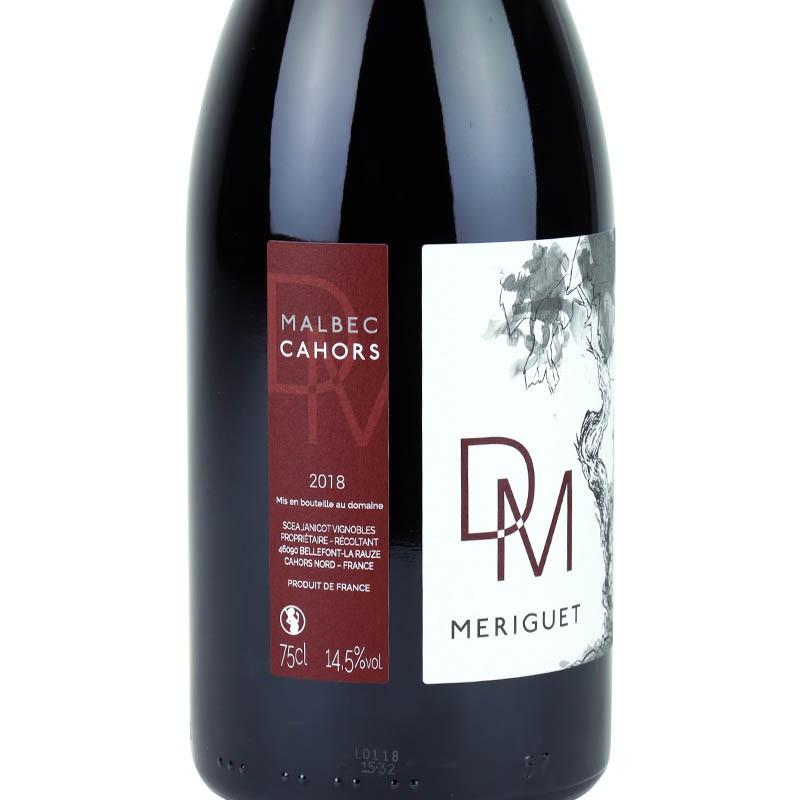 Étiquette du domaine de mèriguet 2018, vin de cahors 100% malbec