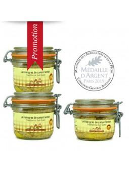 Promotion 3 foie gras de canard entier conserve Médaillé - 490 gr - Mémé du Quercy