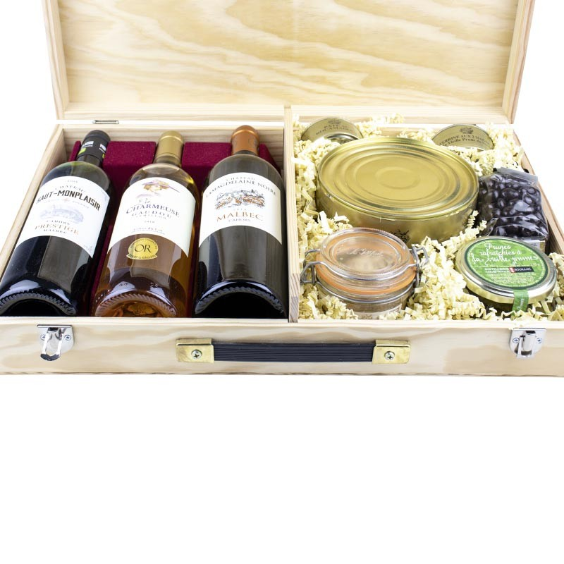 coffret gourmand de produits du sud-ouest vin et foie gras