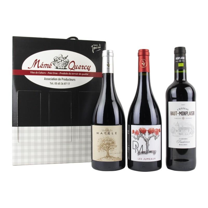 Coffret 3 bouteilles de vin de Cahors AOC Tradition