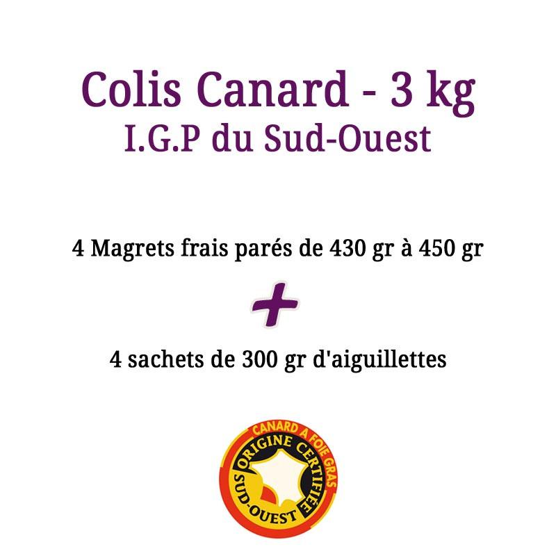 Colis Canard I.G.P du Sud-Ouest, magret et aiguillette de canard en direct du producteur - 3 kg