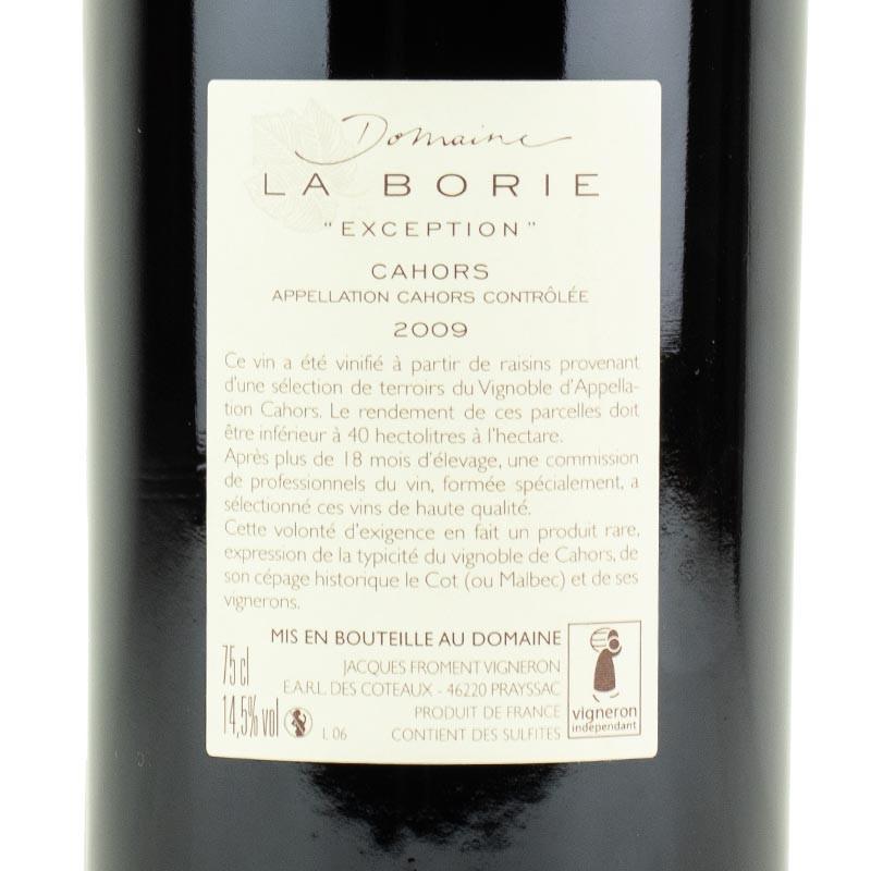 étiquette du domaine La Borie Exception 2009