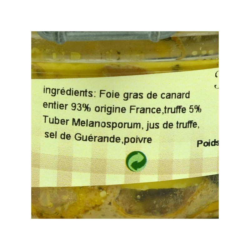 Foie gras de canard entier truffé conserve - 120 gr