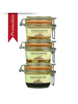 Promotion 3 foie gras de canard entier mi-cuit en spécialités Mémé du Quercy