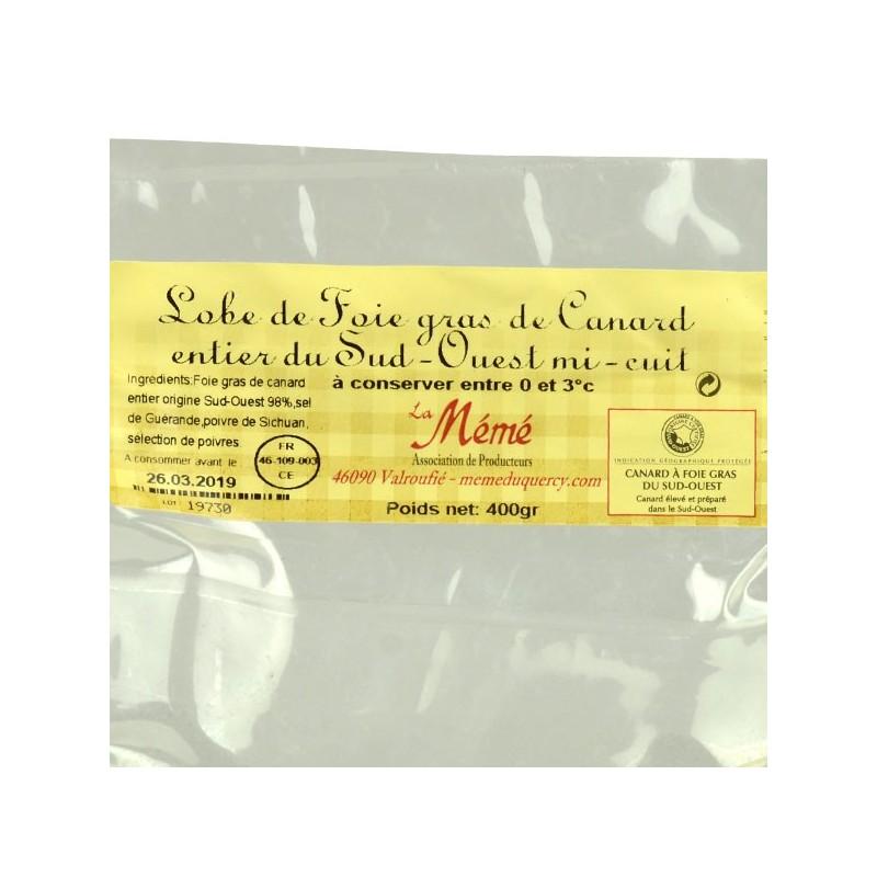 Lobe de foie gras de canard entier mi-cuit poché - 400 gr
