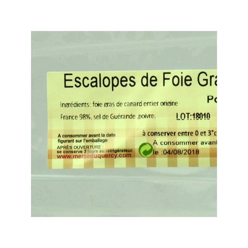 Escalopes de foie gras de canard poêlée mi-cuit - 100 gr