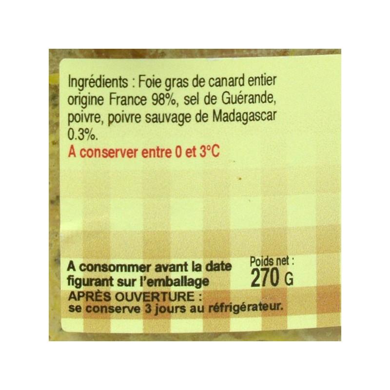Foie gras de canard entier mi-cuit au poivre Sauvage - 270 gr