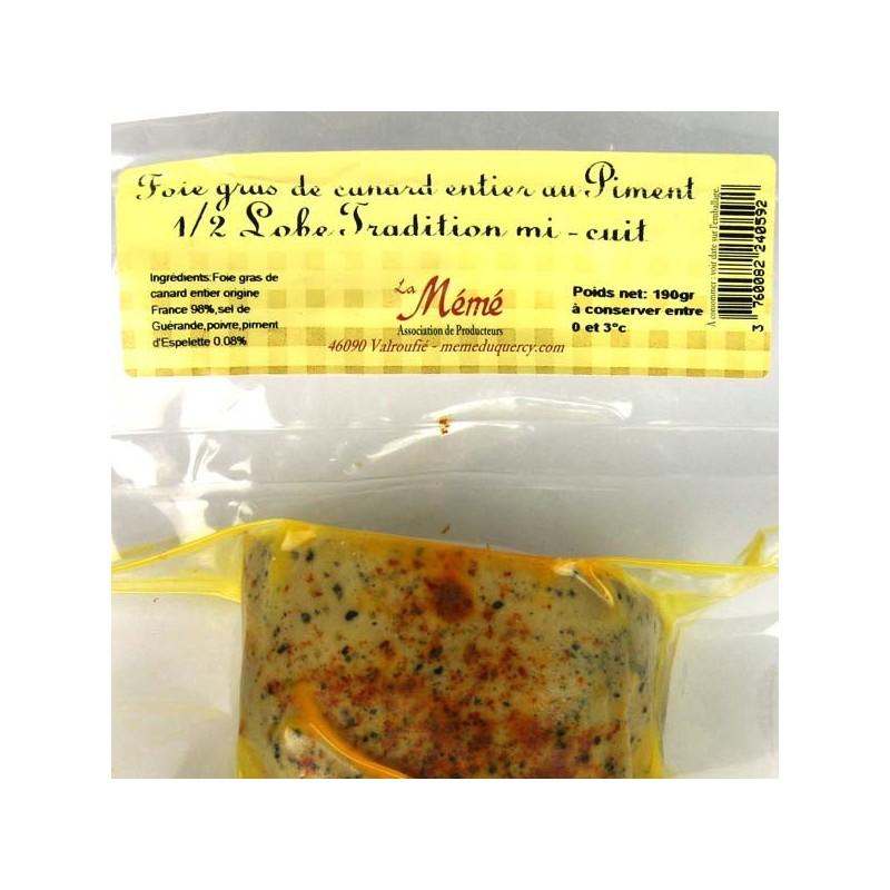 1/2 lobe de foie gras de canard entier mi-cuit au piment d'Espelette - 190 gr