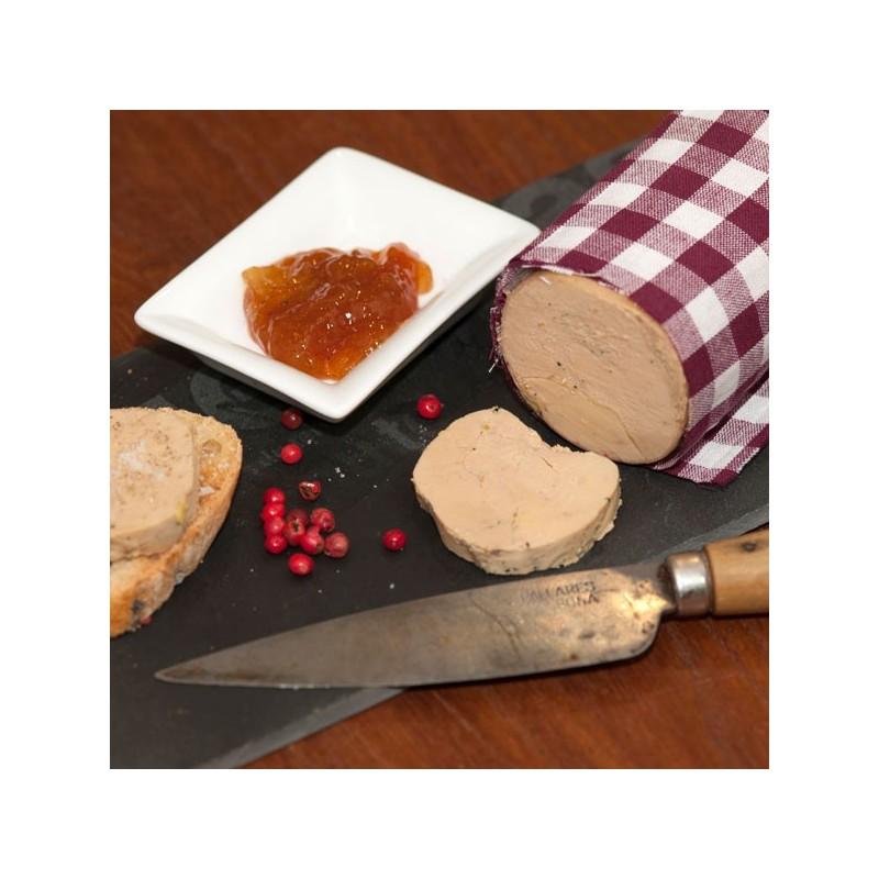Présentation Foie gras de canard entier mi-cuit au torchon
