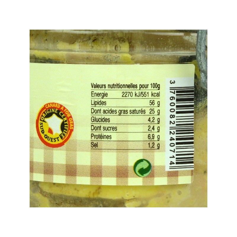 Foie gras de canard entier mi-cuit truffé - 180 gr