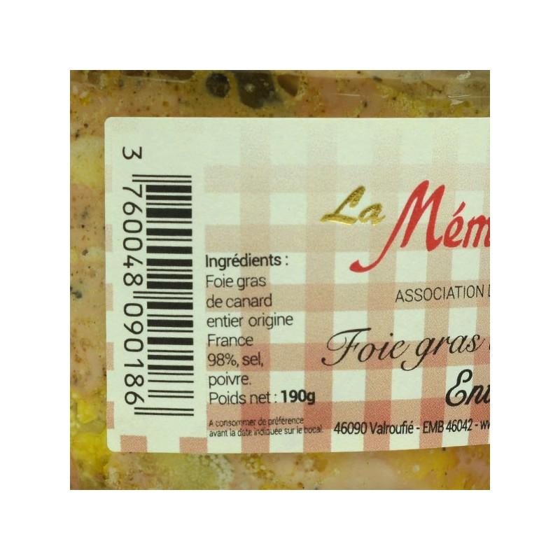 Foie gras de canard entier - 190 gr