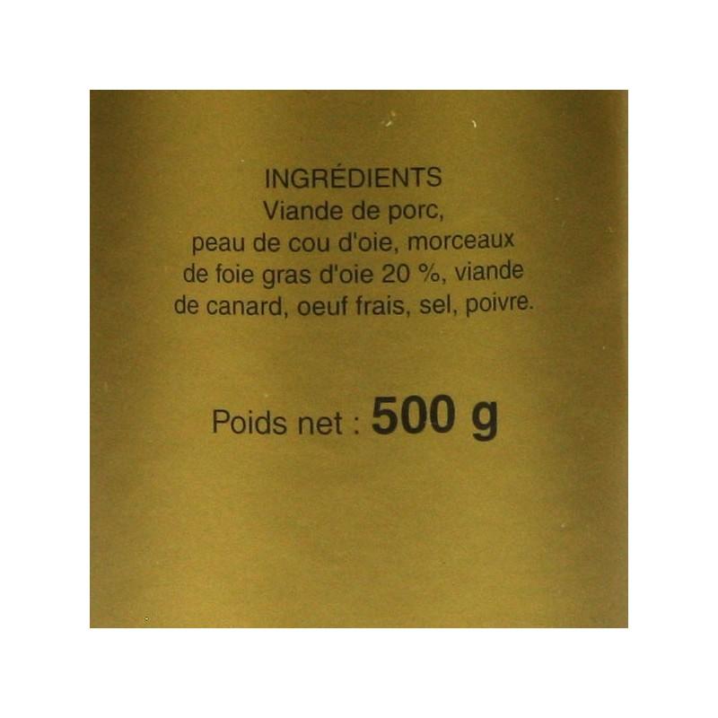 Cou d'oie farci au foie gras d'oie 20% - 500 gr