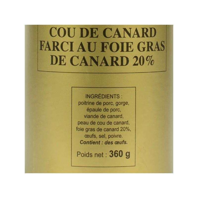 Cou de canard farci au foie gras de canard 20% - 360 gr