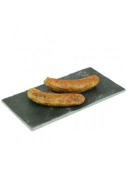 Saucisse de canard au foie gras dorée au four au piment d'Espelette