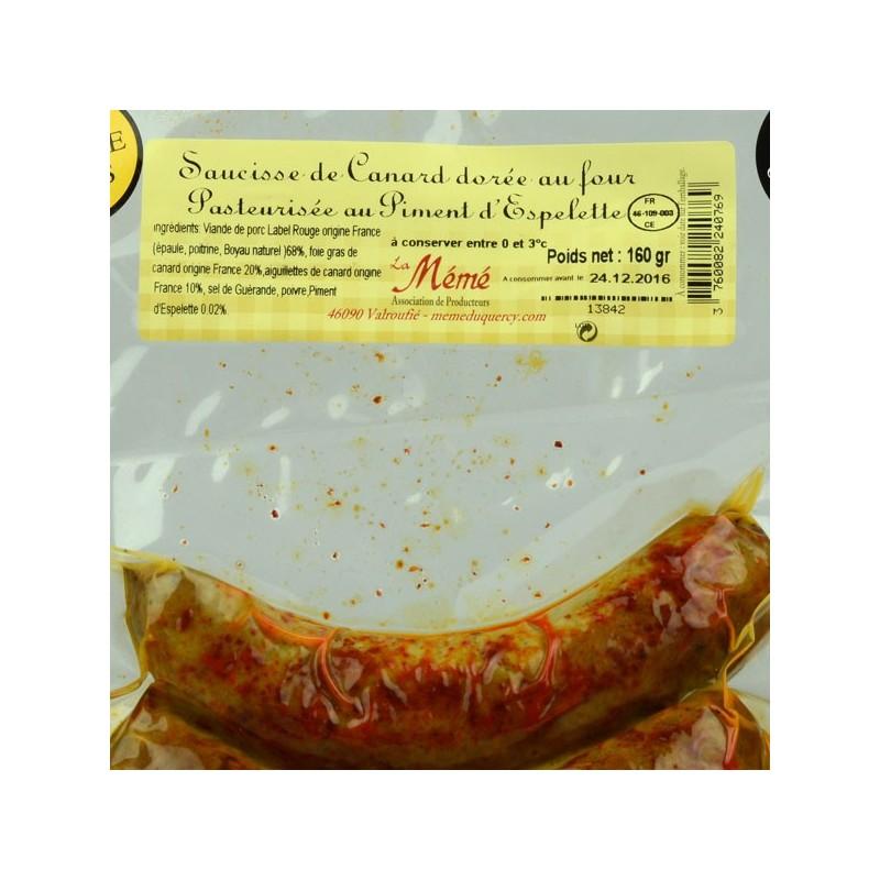 Saucisse de canard au foie gras dorée au four au piment d'Espelette - 160 gr