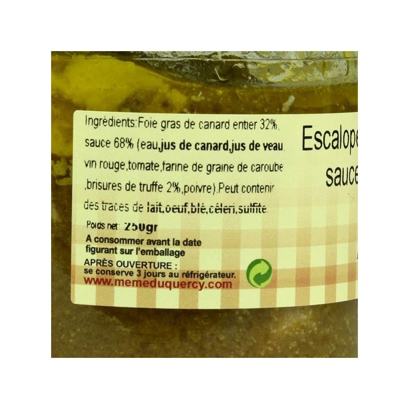 Escalopes de foie gras de canard sauce aux truffes - 250 gr