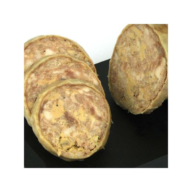 Cou de canard farci au foie gras frais en tranches