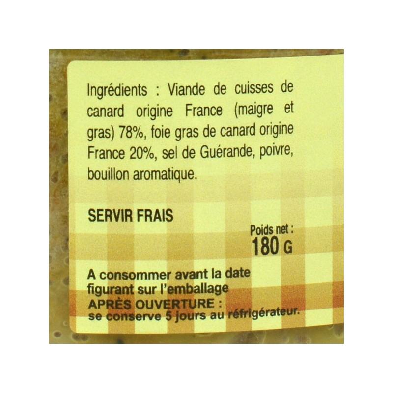 Rillettes de cuisses de canard au Foie gras 20% foie gras - 180 gr