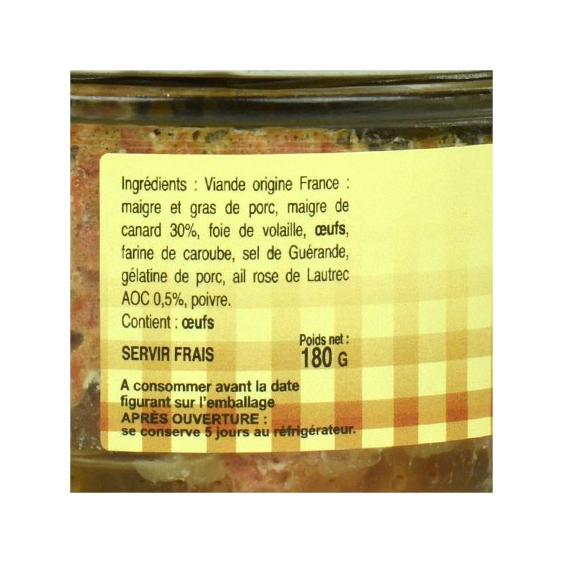 Terrine de canard à l'ail rose de Lautrec - 180gr