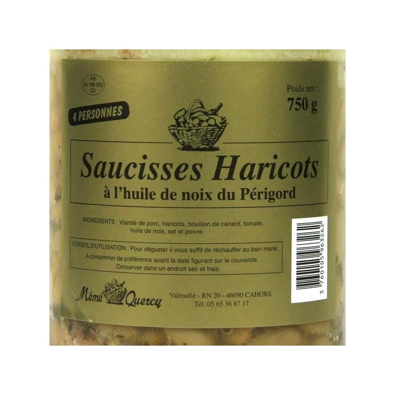 Saucisses haricots à l'huile de noix - 750 gr