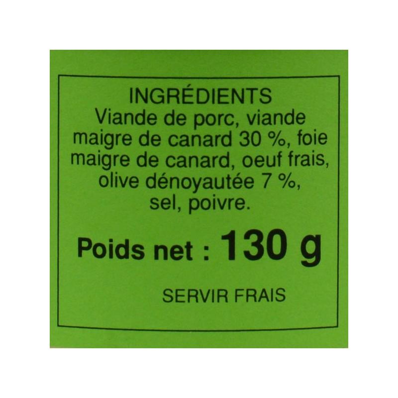 Pâté de canard aux olives - 130 gr