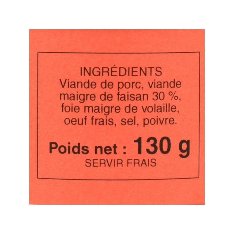 Pâté de faisan - 130 gr