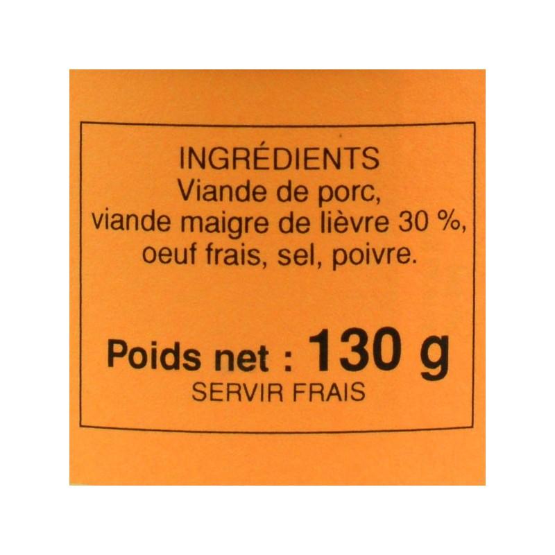 Pâté de lièvre - 130 gr