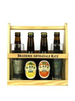 Panier coffret de 6 bières Ratz 33 cl et 2 verres à bière